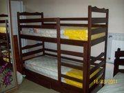 кровати односпальные и двухъярусные из массива
