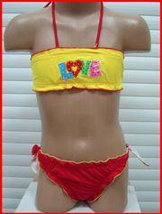 Продаю красивый детский купальник с жёлтым топиком для девочки!