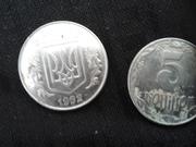 монеты 5 копеек 1992г. украина,  из необычного металла