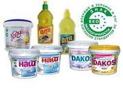 Продажа бесфосфатных  средств для стирки и уборки ТМ Дакос